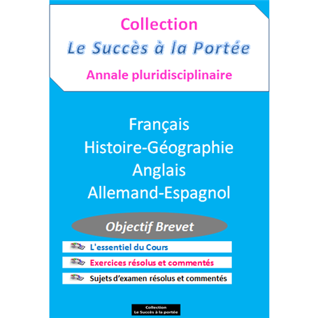 Collection SUCCES A LA PORTEE    Annales pluridiciplinaires    e-Book | Niveau 3ème