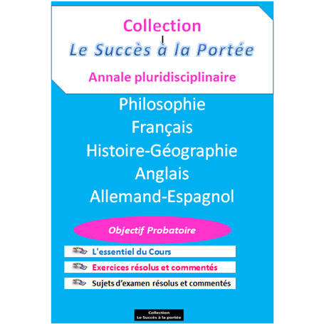 Collection SUCCES A LA PORTEE    Annales pluridiciplinaires    e-Book | Niveau 1ère