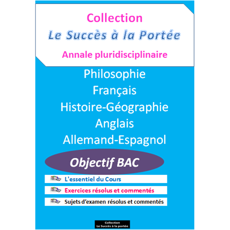 Collection SUCCES A LA PORTEE    Annales pluridiciplinaires    e-Book | Niveau Tle